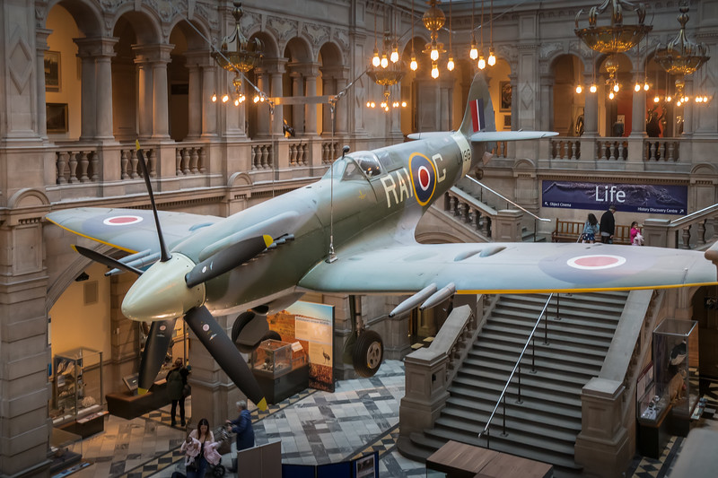 Spitfire on display at the Kelvingrove Art Gallery and Museum