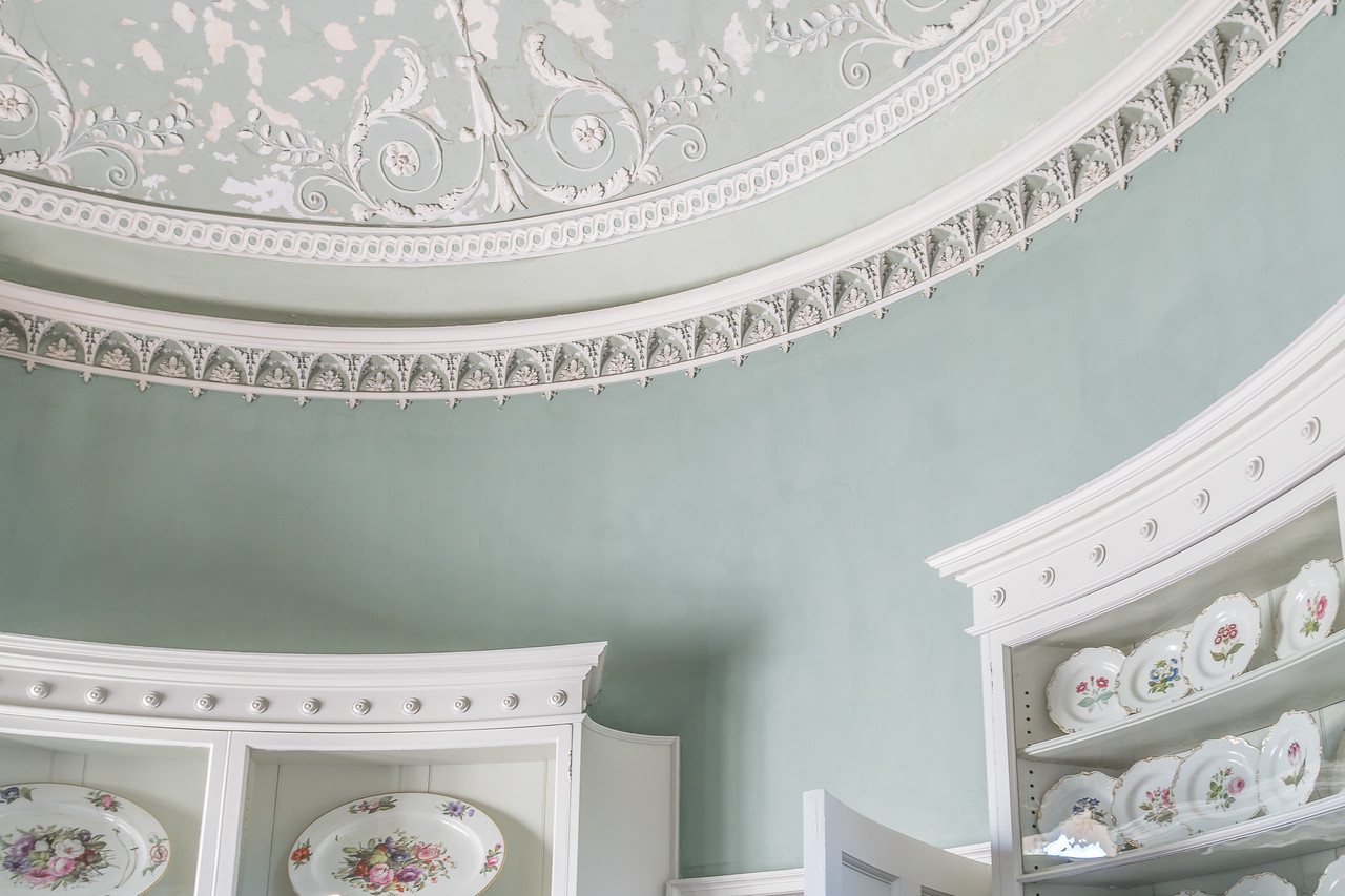 Cabinets and part of the ceiling in the China turret at Inveraray