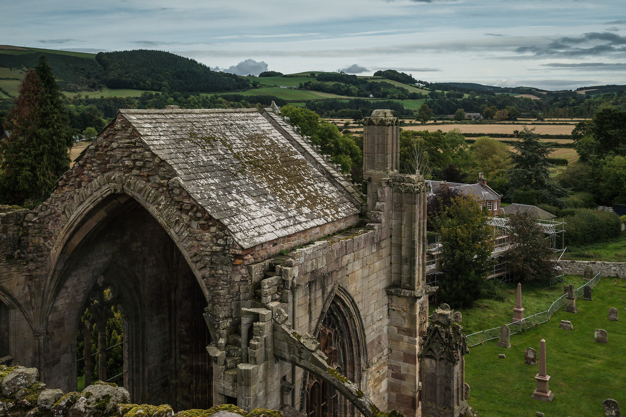View from the top of Melrose Abbey