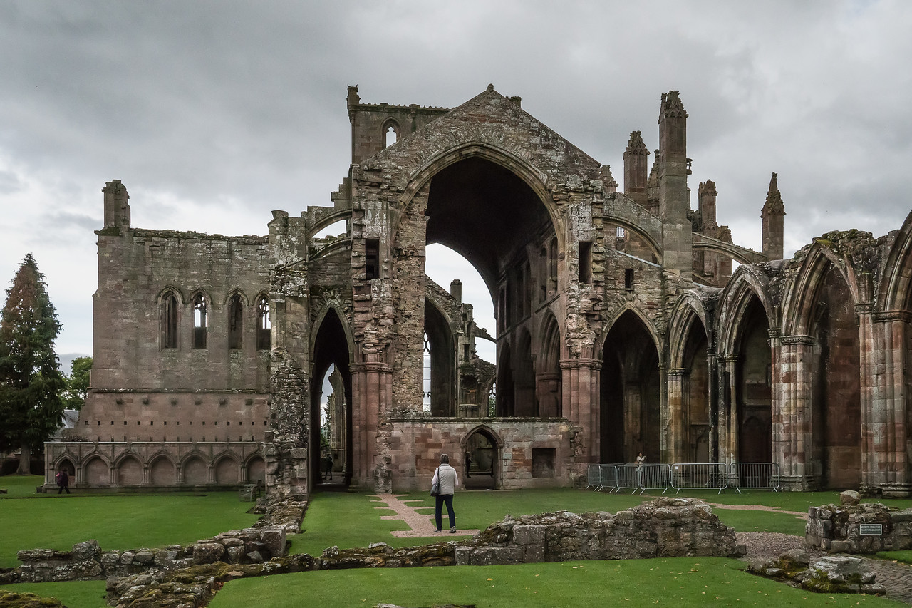 Western entrance to Melrose Abbey.