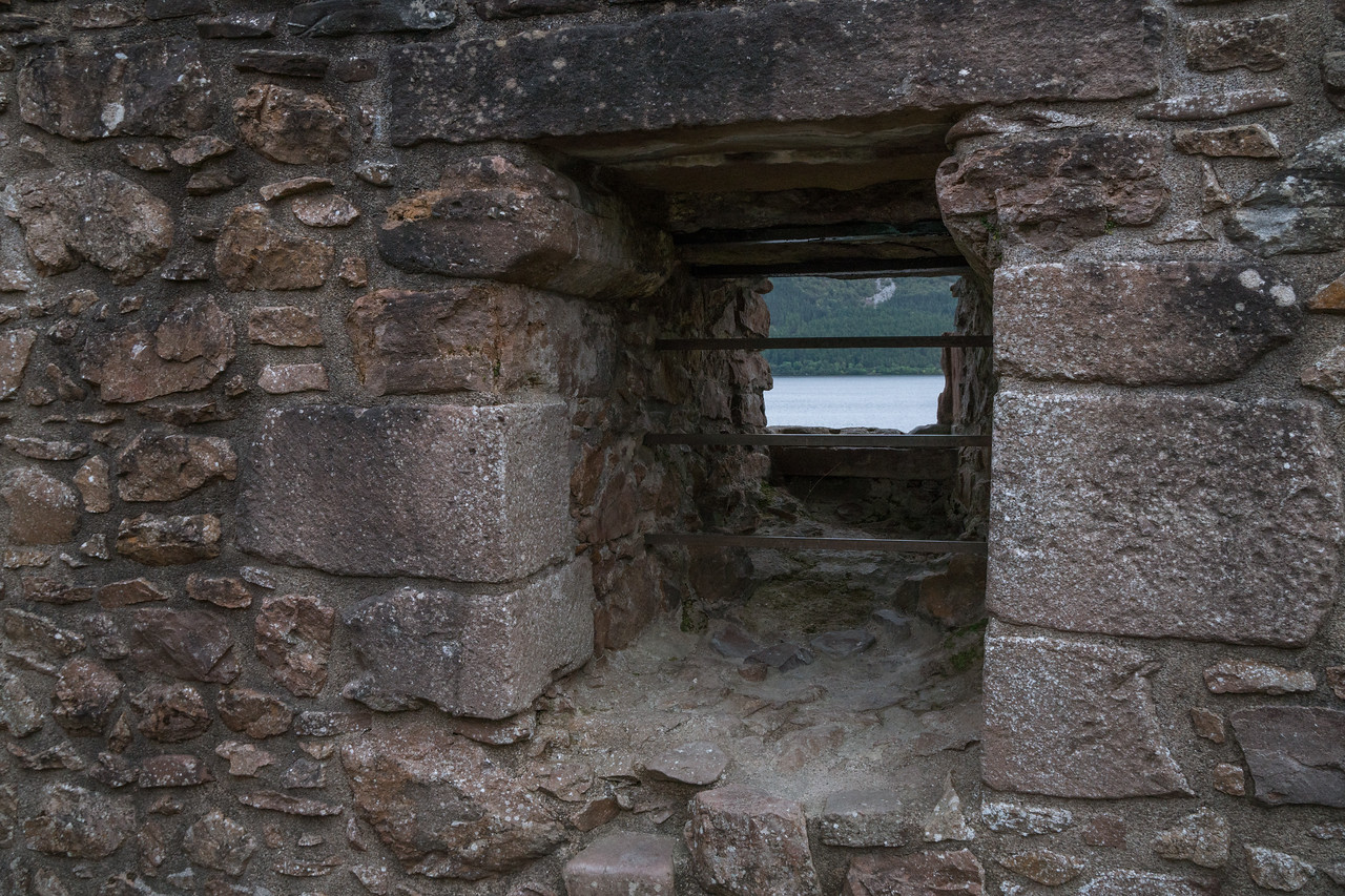 Urquhart Castle wall facing Loch Ness