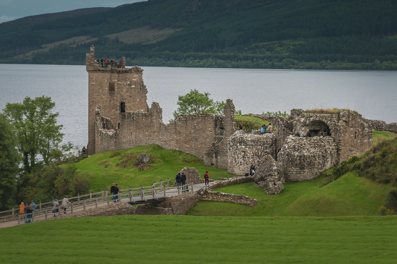 Urquhart Castle and Loch Ness as seen from the Visitor Center