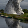 The Kelpies are 30-metre-high horse-head sculptures looking across the Forth and Clyde Canal.