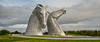The Kelpies are 30-metre-high horse-head sculptures and are a monument to horses who pulled barges and the horse powered heritage across Scotland.