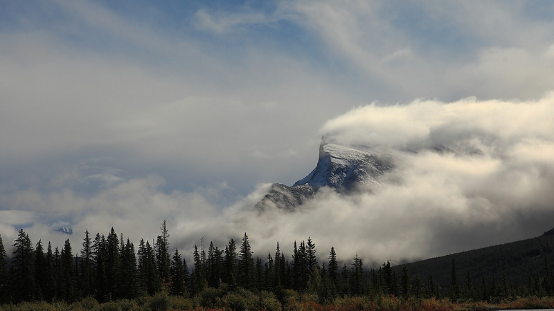 Passing storm clouds over Mt Rundle