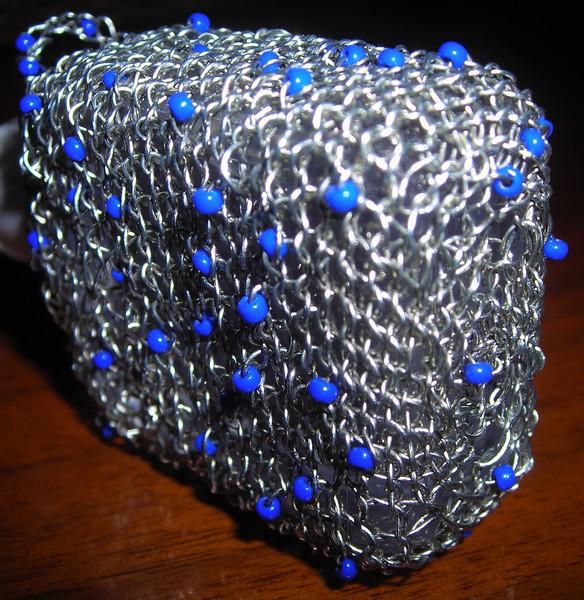 """wire, glass beads; 2 x 3.5 x 4.25""""  2012"""