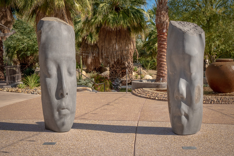 "Basalt sculptures by Jaume Plensa. ""Laura"" and ""Awilda"""