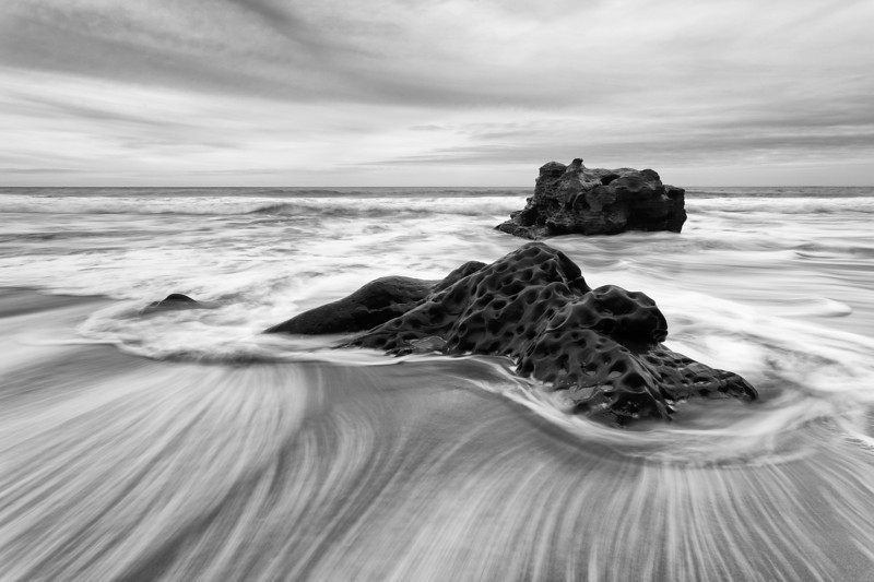 A fairly lackluster sunset at Hole in the Wall Beach worked out very well in black and white