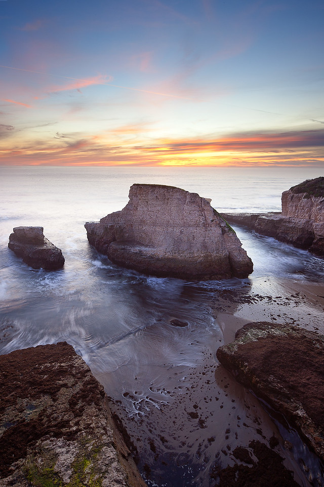 "Sunset at Shark's Fin Cove near Davenport, CA.  Three image ""vertorama"" captured with a tilt-shift lens."