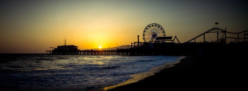 """Santa Monica Sunset""  The sun sets over the Santa Monica Mountains in Santa Monica, California."