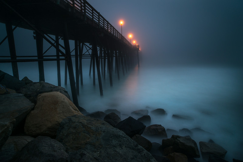 Foggy Night at the Oceanside Pier