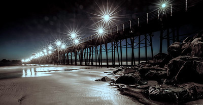 """Like Diamonds in the Sky""  This is a 25 second, longer than usual exposure of the Oceanside Pier in Oceanside, California."