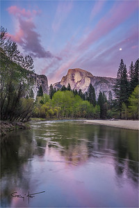 Spring Moon, Half Dome, Yosemite