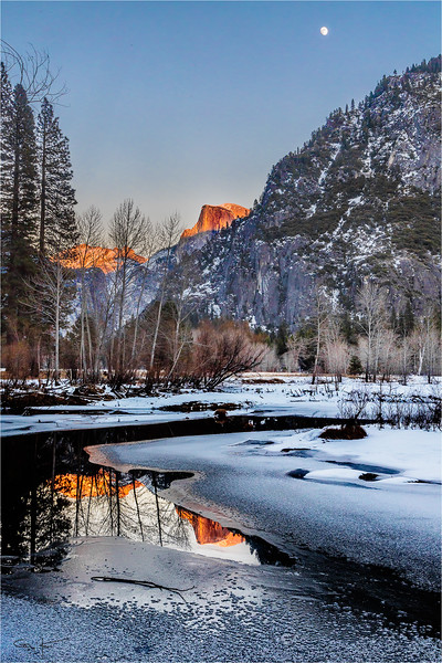 Winter Moonrise, Half Dome and the Merced River, Yosemite