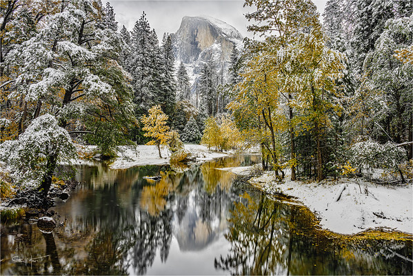 Autumn Snowfall, Half Dome Reflection, Yosemite