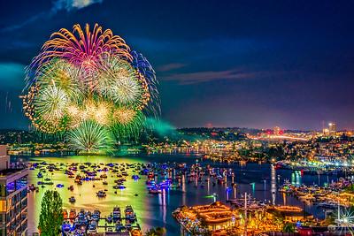 July 4th Seattle Fireworks Wide