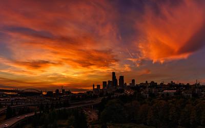 A smoky Seattle Sunset