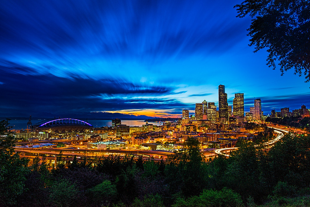 Seattle Blue hour with an orange glow