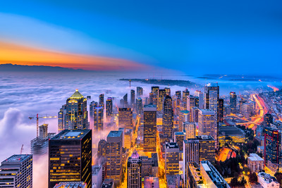Seattle Fog Blue Hour