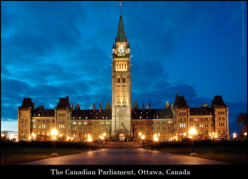 The Canadian Parliament, Ottawa, Canada<br /> This one is a composite of two images taken of the Canadian Parliament building in Ottawa, Canada. The sky and colours are as they were that evening. Other than UV, no filter used.