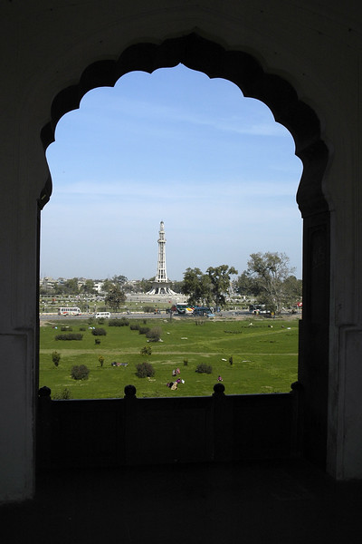 "Minar-e-Pakistan seen from Badshahi Mosque [Pakistan]<br /> Minar-e-Pakistan which stands in the Iqbal Park in Lahore, Pakistan means ""Pakistan Day Memorial"". It was the site where the first meeting to form Muslim Republic of Pakistan was held in 1940. Quaid-e-Azim, the founder met with the Muslim League Party of British India and passed the resolution to form Pakistan."