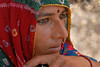 Traditionally saree dressed Rajasthani Lady near Hawa Mahal, Jaipur, Rajasthan, RJ, India.