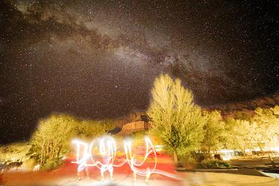 MIlky Way Galaxy, NIght sky photography, Zion National Park, Utah, Light Painting, I Love You