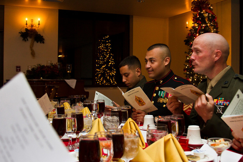 Marines from Sergeant's Course 1-11 share food, drinks, and festivities at their mess night.  Mess night has been a Marine tradition for over 50 years, beginning when Marines from 3rd Marine Regiment's combat swim team were invited to have dinner with their British rivals in the midst of an annual competition.<br /> <br /> The night is centered around a series of toasts, honoring Marine victories throughout the history of the Corps.