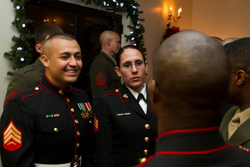 Sergeants Victor Alejandre and Areca Kroll at the class mess night for Sergeant's Course 1-11, at Camp Johnson, North Carolina.