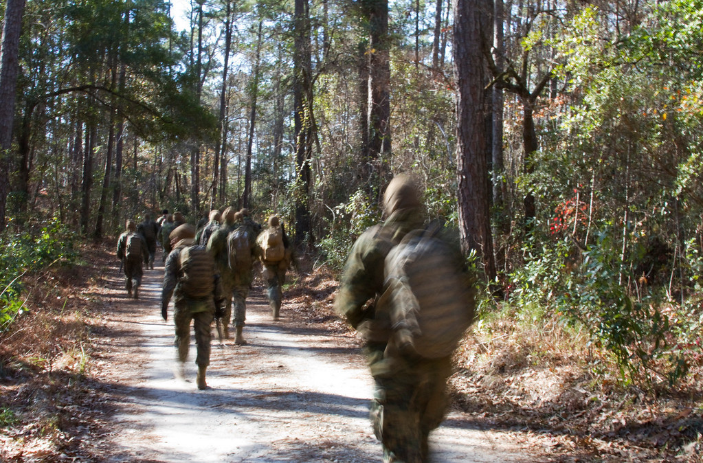 Marines at Sergeant's Course, Camp Johnson, North Carolina conduct field training exercises near the end of their training cycle.  Sergeant's Course is a U.S. Marine Corps Professional Military Education school with locations in Virginia, North Carolina, and California.  The course teaches and evaluates Marine sergeants on administrative duties, combat leadership, Marine Corps knowledge, public speaking and a variety of other fundamentals expected of the rank of sergeant.