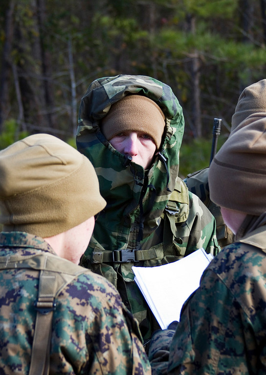 A Marine sergeant bundles up for the cold weather during a two-day field exercise for Sergeant's Course 1-11 at Camp Johnson, North Carolina