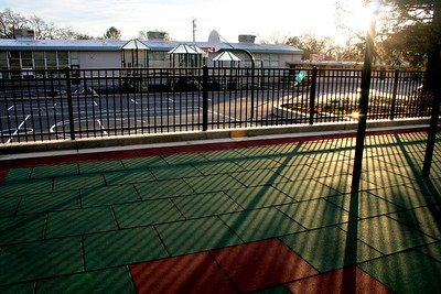 Late afternoon shadows across the school playground. Walnut Heights Elementary School, Walnut Creek, CA.