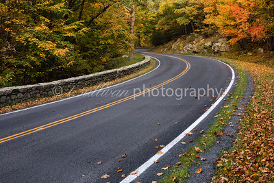 Skyline Drive winds through Fall foliage in Shenandoah National Park.