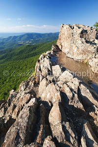 View from the top of Little Stony Man cliffs in Shenandoah National Park on a clear day in July.