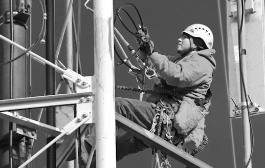 Tower climber Daniel Mills