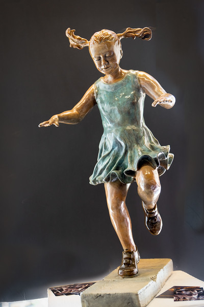 "Linda Serrao's bronze called ""Hopscotch"""