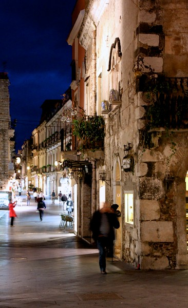Taormina Street Scene at dusk