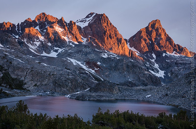 First light on Ritter and Banner peaks above Cecile Lake, Ansel Adams Wilderness, June 2014.
