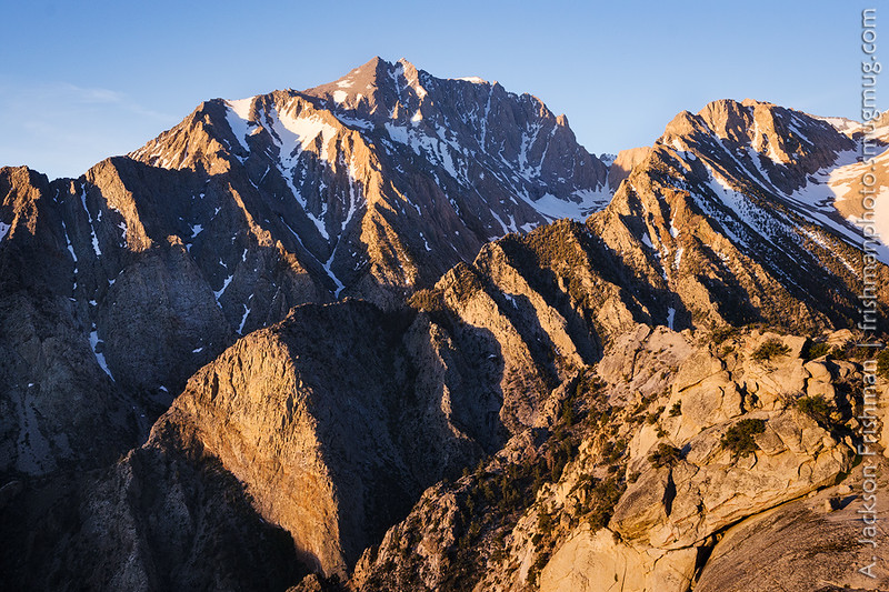 Morning light on Mt. Williamson, California's second-highest peak, and the massive walls of Shepherd and Williamson Canyons, June 2017.