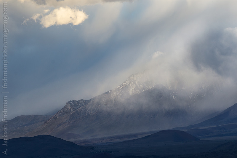 Late spring snowstorm flows over the High Sierra into Owens Valley, April 2016.