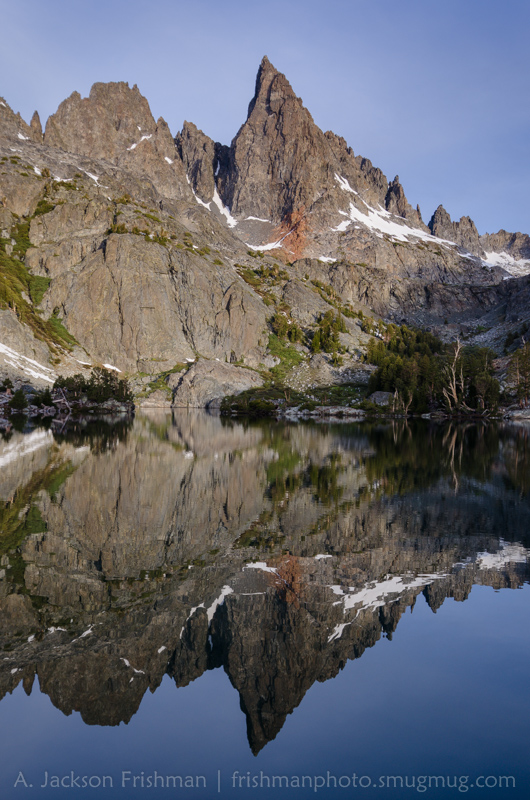 Ken and Clyde Minarets reflect in Minaret Lake at dawn, June 2014.