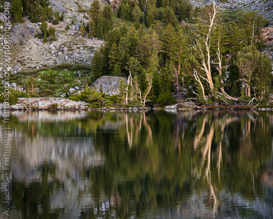 Reflections in Minaret Lake, Ansel Adams Wilderness, California, June 2014.