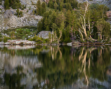 Reflections in Minaret Lake, Ansel Adams Wilderness, California, June 2014.