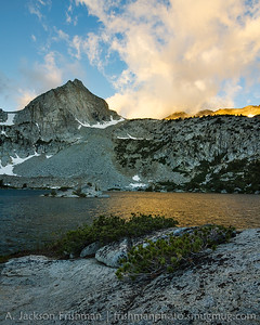 Sunrise at Treasure Lake, John Muir Wilderness, July 2016.