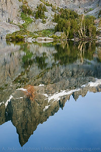 Clyde Minaret reflecting in Minaret Lake, Ansel Adams Wilderness, California, June 2014.