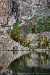 Calm morning at Minaret Lake, Ansel Adams Wilderness, California, June 2014.