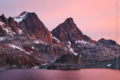 Sunrise glow on Ritter and Banner Peaks, Ansel Adams Wilderness, June 2014.