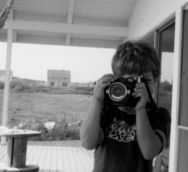 Image 22 - Wes at age 6, using JFW's Nikonos to take photographs, Block Island Rhode Island