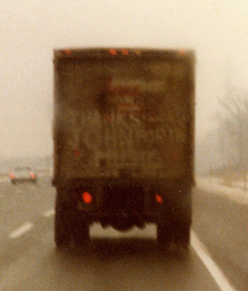 "Enlarged image of #17 - Tribute to John Lennon on the back of a truck, NJ Turnpike, December 1980.  ""Thanks John for the Music."""