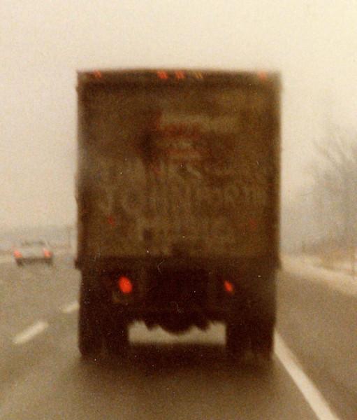 "Enlarged image of #17 - Tribute to John Lennon on the back of a truck, NJ Turnpike, December 1980.  ""Thanks John for the Music."""